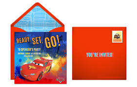 plan a speedy cars birthday party disney cars online invitation