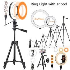 16cm 26cmLED Ring Light withTripod 360 rotation Temperature Soft ...