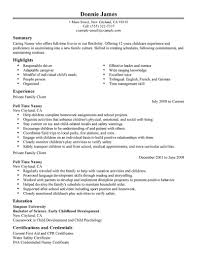 job nanny job resume template of nanny job resume full size