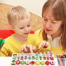 Montessori 3-in-1 Wood Child Numbers Matching Board <b>Fruits</b> ...