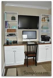 diy office built ins using stock kitchen cabinets and custom storage towers built office storage