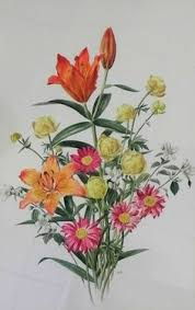 Anne Marie Trechslin (1927-2007) - Bouqet of flowers, watercolour ...