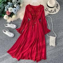 <b>NiceMix</b> Women Holiday Boho Dress <b>2019 Summer</b> Wine Red ...