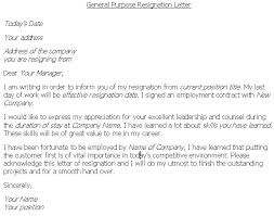 resignation letter example letter of resignation