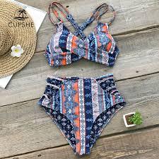 CUPSHE Boho Print Cross Front Push <b>Up</b> Bikini Sets <b>Women Lace</b> ...