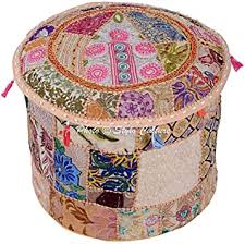 Stylo Culture <b>Round</b> Ethnic <b>Cotton Ottoman Pouf</b> Cover <b>Patchwork</b> ...