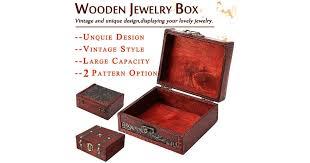 Grape Leaf Pattern Cute Retro Wooden Jewelry Box Storage ...
