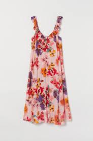 Ruffle-trimmed Dress - Light <b>pink</b>/<b>large flowers</b> - Ladies | H&M CA