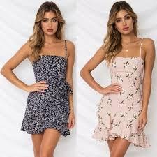 Women Leaf Print Chiffon Dress <b>Sexy Beach</b> Party Sleeveless Dress ...
