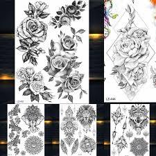 Black Rose <b>Peony</b> Temporary Tattoos Fake Jewelry Geometric ...