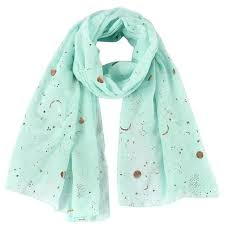 New Fashion Navy Star Moon Foil Gold <b>Scarf</b> For <b>Womens</b> ...