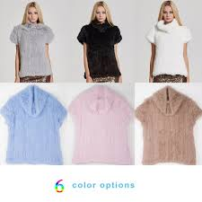 fur story Women's Knitted Real <b>Rabbit Fur Vest</b> Pullover Solid ...