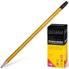 Купить Карандаш чернографитный <b>BRAUBERG</b>, 1 шт., НВ, с ...