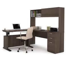 uptown height adjustable l shaped desk with lateral file and bookcase in antigua bestar embassy corner desk