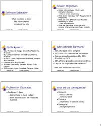session objectives software estimation why estimate software software projects 2 my background b s