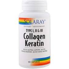 Solaray, <b>Коллаген кератин</b>, <b>тип I</b>, II, III, 60 капсул, цена 1 086 грн ...