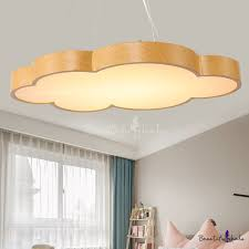 Wood Grain Cloud <b>LED Pendant Lights Nordic</b> Style Acrylic 1 Light ...