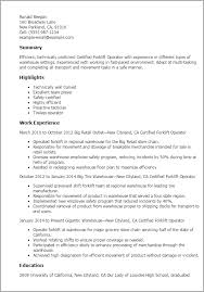 professional certified forklift operator templates to showcase    resume templates  certified forklift operator