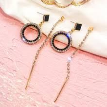 FYUAN модные круглые <b>серьги</b>-<b>кольца с черными</b> кристаллами ...