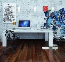 work office decorating ideas cool office room design with simple white desk combine with unique brick office furniture