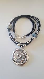 spiral pendant, woman leather <b>necklace</b>, girlfriend, beaded, <b>uno de</b> ...
