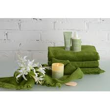 <b>Полотенце для рук</b> с бахромой оливково-зеленого цвета ...