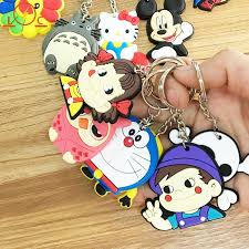 Random Color Key Rings <b>Cartoon</b> Lovely <b>Pendant</b> Mini Soft <b>PVC</b> ...