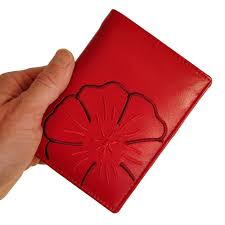 22369: Chic, large <b>women's</b> wallet in bright red with <b>elegant flower</b> ...