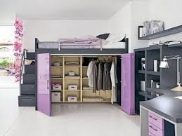 unique furniture for small spaces. elegant gray wooden loft bed with purple wardrobe closet doors underneath cool ideas for small rooms decoration unique furniture spaces i