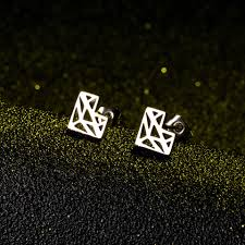 2019 New Abstract Fox Stud Earrings <b>Fashion Stainless steel</b> ...