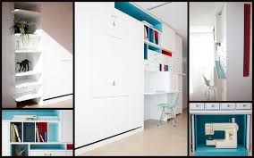creative and space saving murphy desk and bed for kids room with white shelves and blue bedroom wall bed space saving