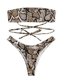 ZAFUL Women's Snakeskin Bikini Set Padded Back ... - Amazon.com