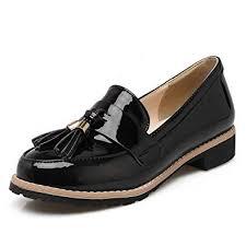 SaraIris <b>Women</b> Low Heel Tassel Slip on <b>Patent Leather Casual</b> ...