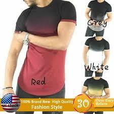 Men's <b>Gradient Color</b> Summer and Autumn Short-sleeved Shirt Slim ...