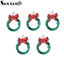 <b>10pcs</b> Christmas Series Enamel Art <b>Oil Drop</b> Bow Knot Circle <b>Small</b> ...