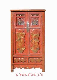 <b>Gold</b> Flower Armoire Red <b>Chinese Antique Cabinet</b> Hallway <b>Cabinet</b> ...