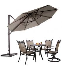patio ft cantilever umbrella: abba patio  ft aluminum offset cantilever umbrella outdoor hanging parasol with cross base and vertical tilt
