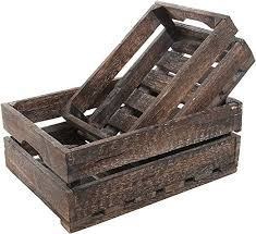 <b>Set</b> of <b>2</b> Country Rustic Finish Wood <b>Storage Crate</b>/Decorative Tray ...
