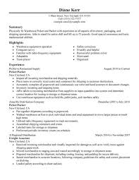 unforgettable picker and packer resume examples to stand out    picker and packer resume sample
