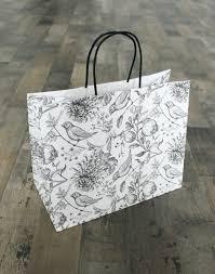 <b>белый пакет</b> с винтажной иллюстрацией цветов и птиц l-m
