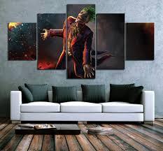 <b>5 Piece HD Pictures</b> Super Villain Laughing Joker Artwork Suicide ...