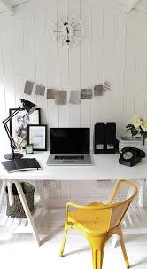 scandinavian style home office with a dash of yellow design owl design black and white office design