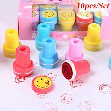 <b>10pcs</b>/<b>Set</b> Children Toy Stamps <b>Cartoon</b> Smiley Face Kids Seal for ...