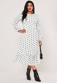 <b>Plus Size White</b> Polka Dot Maxi Smock <b>Dress</b> | Missguided