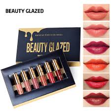 BEAUTY GLAZED <b>6 Colors Matte</b> Lipstick Set Waterproof Long ...