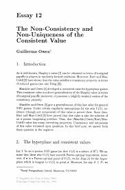 the non consistency and non uniqueness of the consistent value essays in game theory essays in game theory
