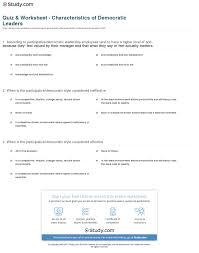 quiz worksheet characteristics of democratic leaders com print the participative or democratic leader worksheet