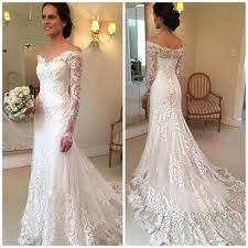 Lace Wedding Dress V-Neck Long <b>Sleeve</b> Button Sweep Train ...