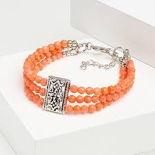 Купить <b>Браслет коралл оранжевый</b> Индонезия (биж. сплав ...