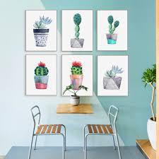 <b>Watercolor</b> Green <b>Plant</b> Flowers Cactus Posters Succulent <b>Nordic</b> ...